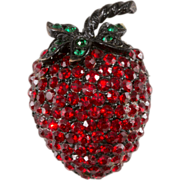 Weiss Red Rhinestone Strawberry Fruit Pin