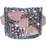 Pink Art Glass Blue Purple Alexandrite Rhinestones Hinged Cuff Bracelet Vintage