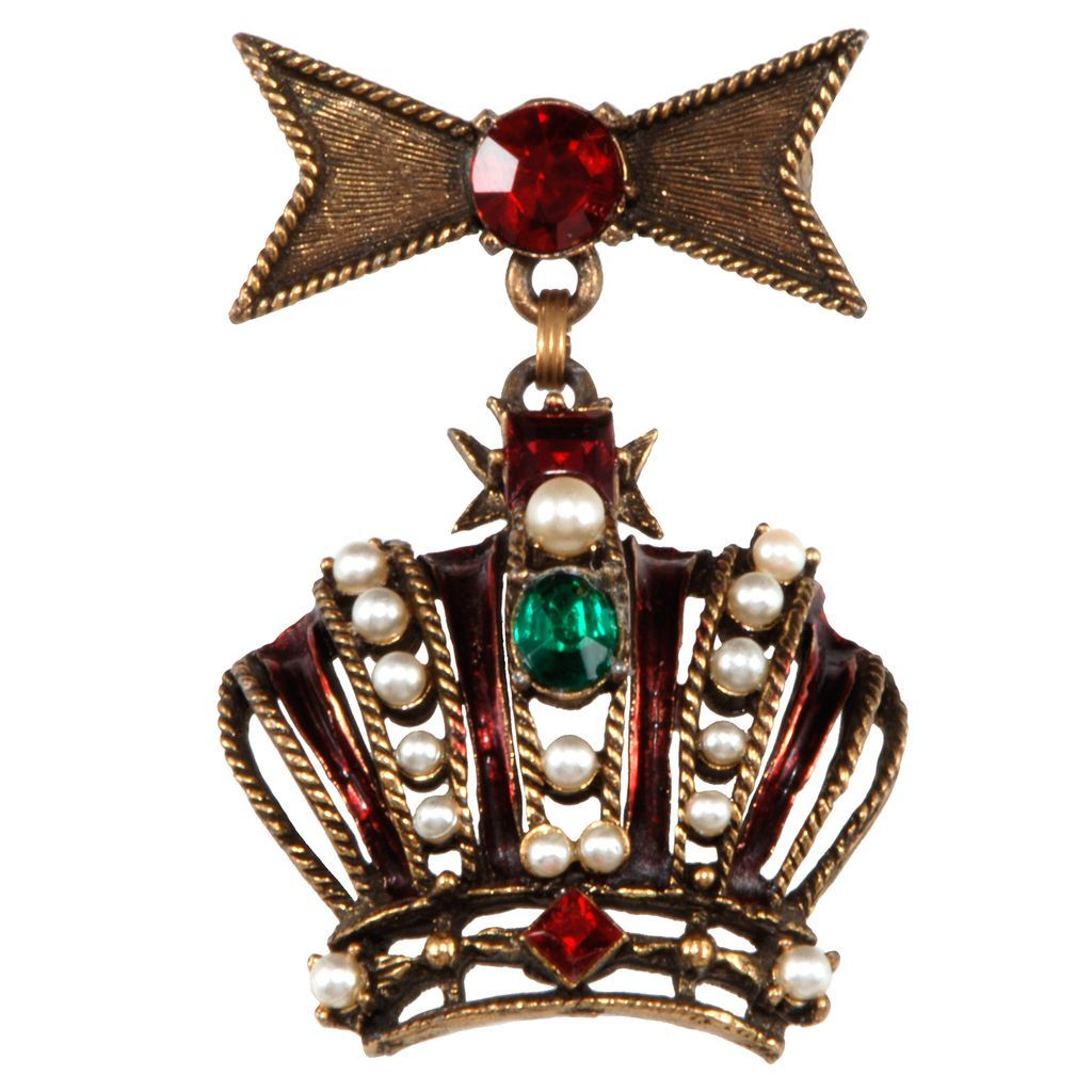 Weiss Rhinestone Dangling Crown Brooch Pin