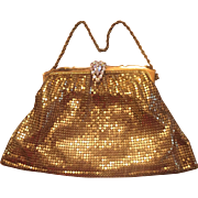 Whiting Davis 1940s Rhinestone Clasp Gold Mesh Evening Bag Purse