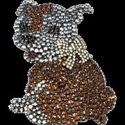 Von Walhoff 4-Inch Bulldog Puppy Dog Brooch Pin Rhinestones