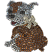 Von Walhof 4-Inch Bulldog Puppy Dog Brooch Pin Rhinestones