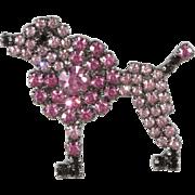 Von Walhof Small Pink Poodle Rhinestones Tie Tac Scatter Pin