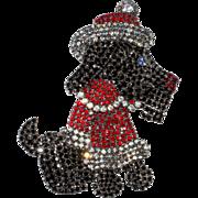 Von Walhof 4-Inch Rhinestone Santa Dog Brooch Christmas Pin