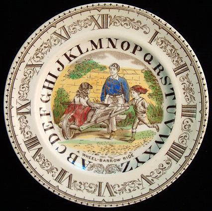 ABC Plate ~ Clock ~ A Wheel-Barrow Ride 1880