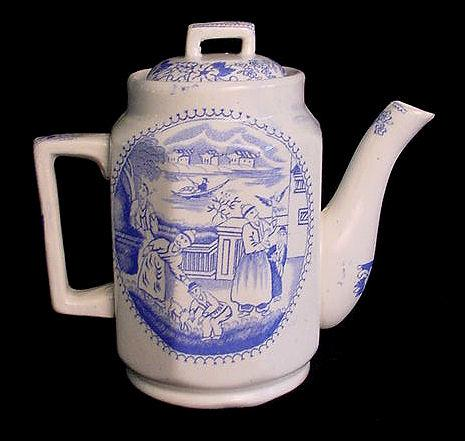 Rare Childs Blue Transfer Teapot ~ FALCONER c1890