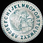 EXC Pearlware ABC Plate ~ Sponge Bath 1860