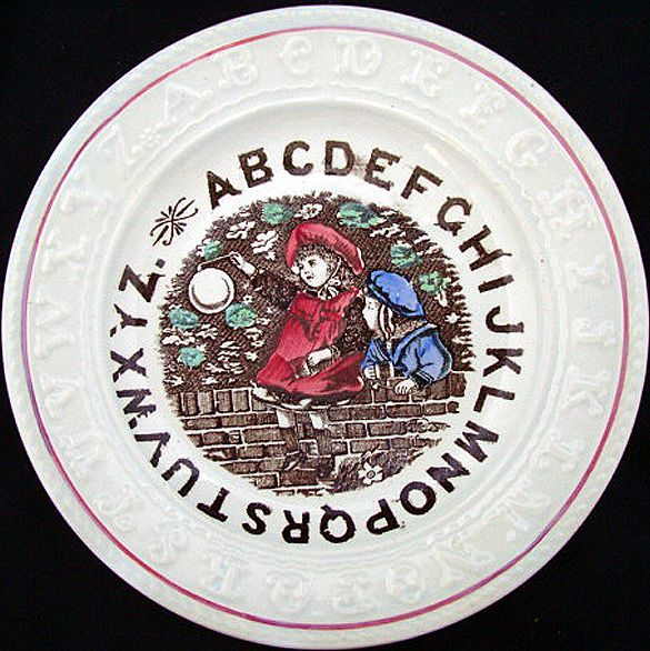 Staffordshire  Double ABC Plate ~ BUBBLES 1880
