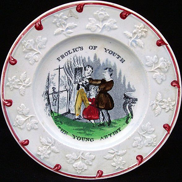 Soft paste Child's Plate ~ Young Artist 1830