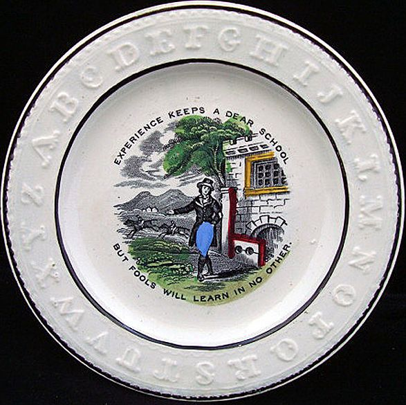 Pearlware ABC Plate ~ Experience + Fools 1840