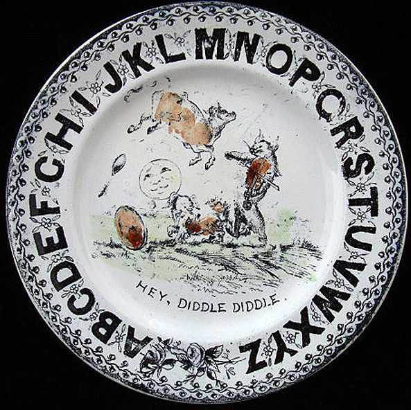 Antique ABC Plate ~ Hey Diddle Diddle 1880