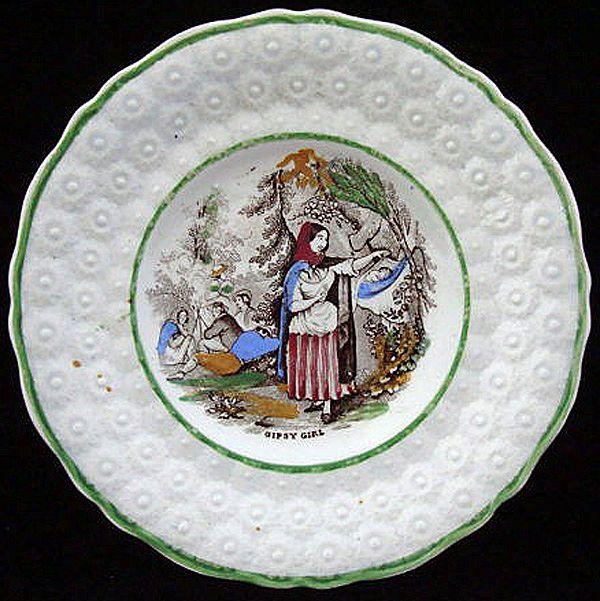 Antique Children's Plate ~ Gipsy Girl 1840