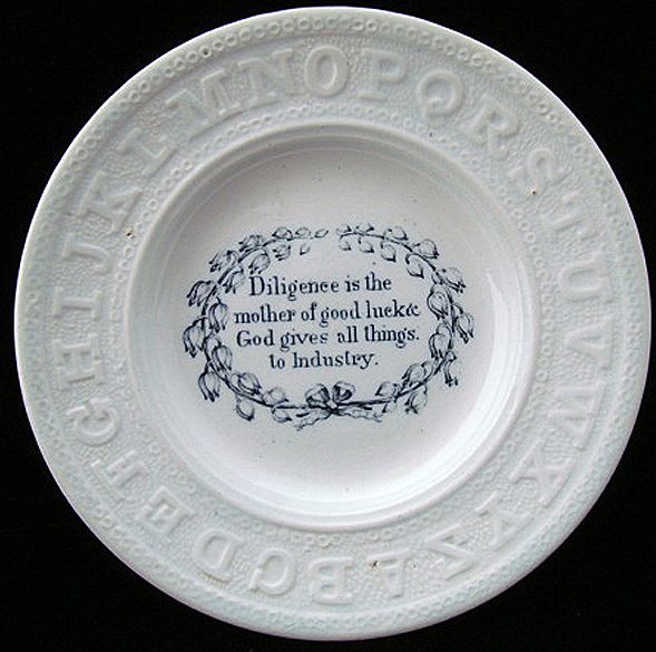 Early Pearlware Motto ABC Plate ~ Diligence & Industry 1840