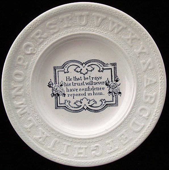Early Pearlware Motto ABC Plate ~ Trust 1840