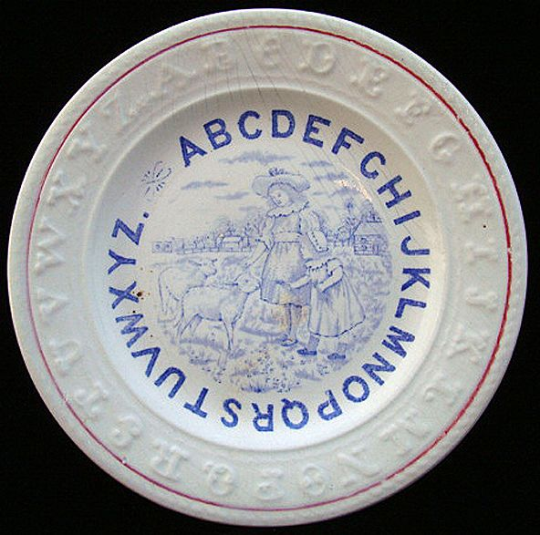 Antique English ABC Plate ~ Mary & Lamb 1880