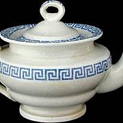 Childs Staffordshire Miniature Teapot ~ Greek Key c1850
