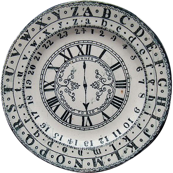 Staffordshire ABC School Plate ~ Clock + Numbers Bed Time 1890