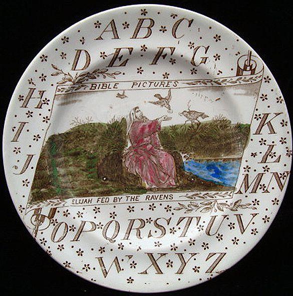 ABC Plate ~ BIBLE Pictures ~ Elijah Ravens 1880