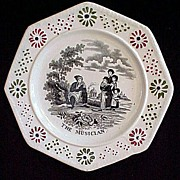 Staffordshire Child's Transfer Plate ~ The Musician 1830