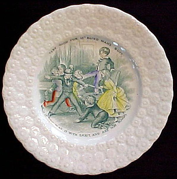 Child S Pearlware Plate Blind Man S Bluff 1830