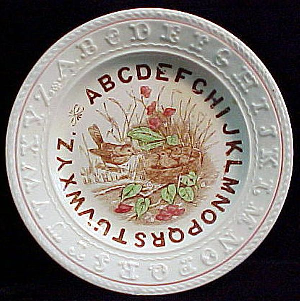 Staffordshire Double ABC Plate ~ BIRDS NEST 1850