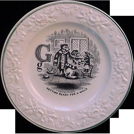 Pearlware Alphabet G Plate ~ The Three Bears 1840