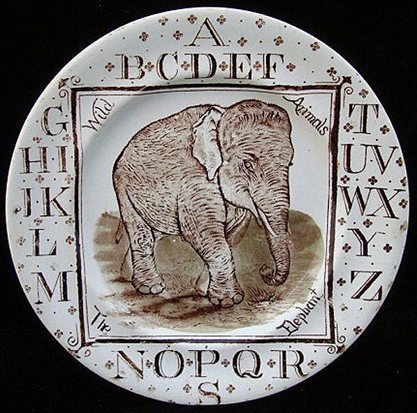 ABC Plate ~ Wild Animals ~ The Elephant 1880