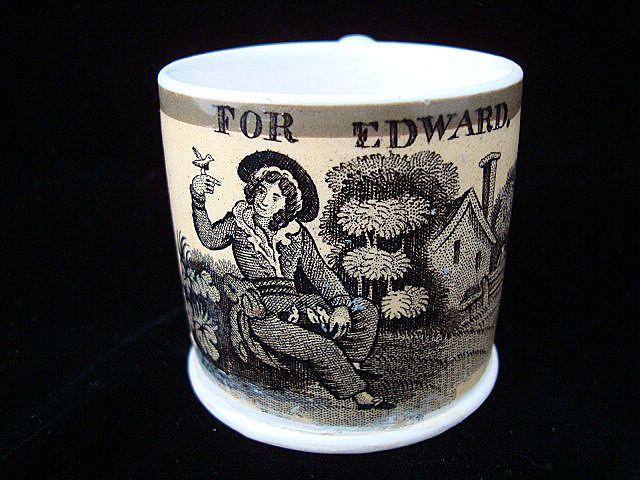 Early Pearlware Child's Mug ~ EDWARD 1830