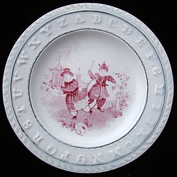 Early Pearlware ABC Plate ~ Playing Hoops 1840