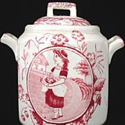 Childs Red Transferware Biscuit Jar ~ Little May with Apron ~ Allerton