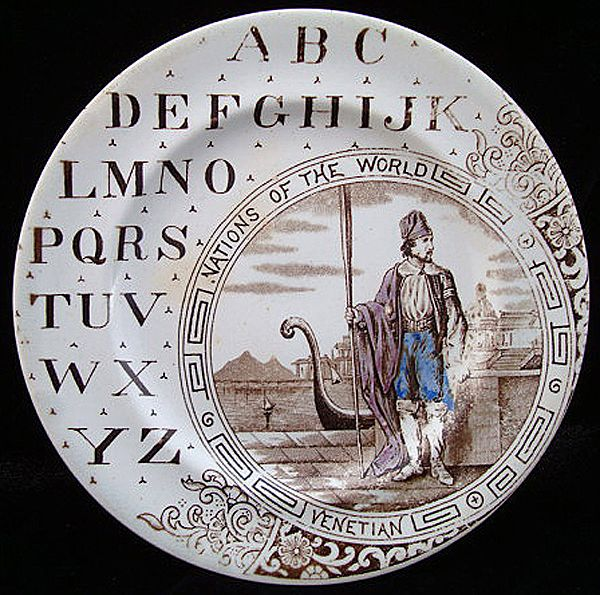 ABC Plate ~ Nations of the World ~ Venetian 1880