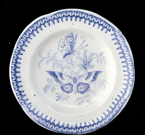 Pearlware Cup Plate ~ BUTTERFLY c1830