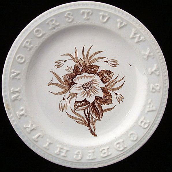 Early Pearlware ABC Plate ~ White Rose 1840