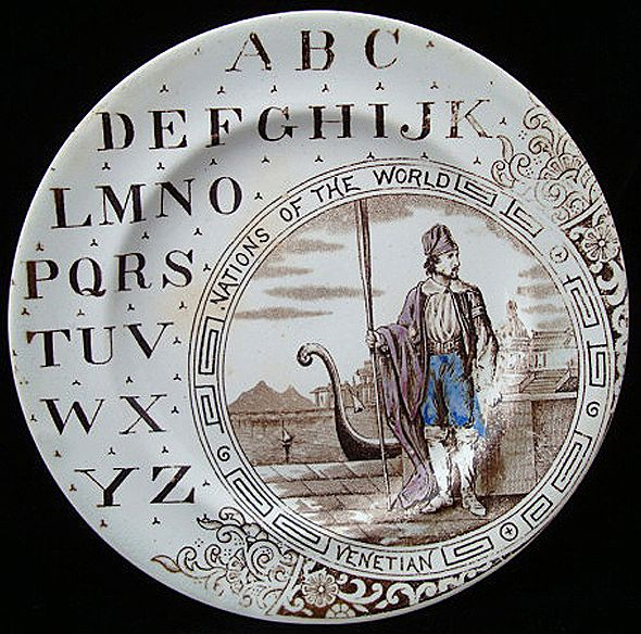 Nations of the World ~ ABC Plate ~ Venetian 1880