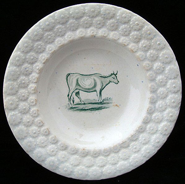 Antique Pearlware Plate ~ Milk Cow 1840