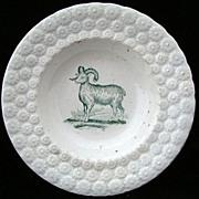 Antique Pearlware Plate ~ Ram / Sheep 1840