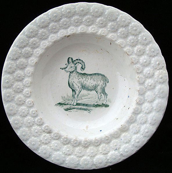 Antique Pearlware Plate ~ Ram / Sheep 1840