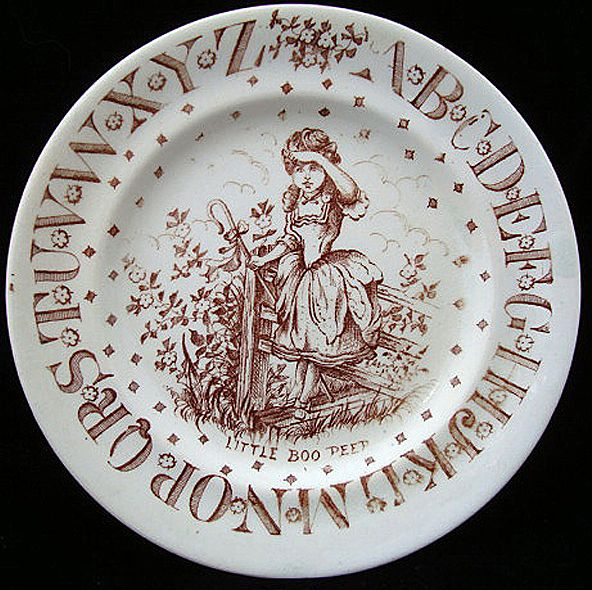 Brown Transfer ABC Plate ~ Little Bo Peep ~ 1890
