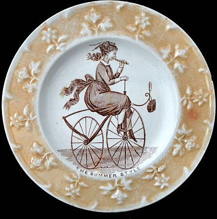 Rare Childs Caricature Plate ~ Velocipede Bicycle Flute