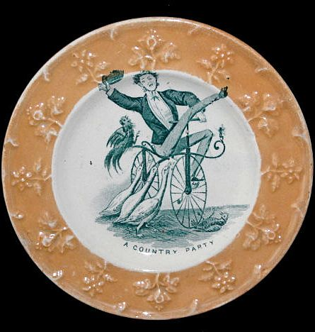 Rare Childs Caricature Plate ~ Velocipede Bicycle Geese