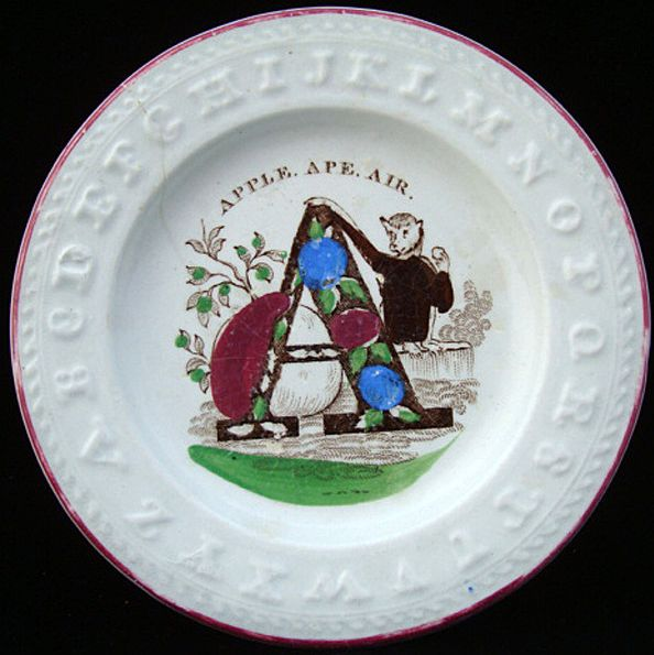 Antique Alphabet ABC Plate ~ Letter A  1840