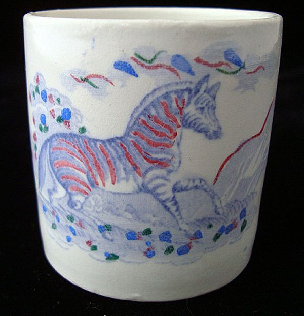 Blue Pearlware Child's  Mug ~ ZEBRA 1840