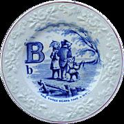 Flow Blue Alphabet B Plate ~ The Three Bears 1840