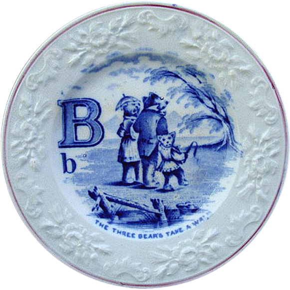 Flow Blue Alphabet B Plate ~ The Three Bears 1840