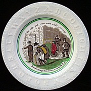Pearlware ABC Plate ~ Franklins Maxim ~ BANKING 1840