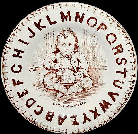Rare Antique ABC Child's Nursery Rhyme Plate ~ LITTLE JACK HORNER