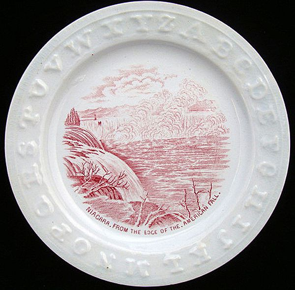 Red Historical ABC Plate ~ Niagara Falls 1850