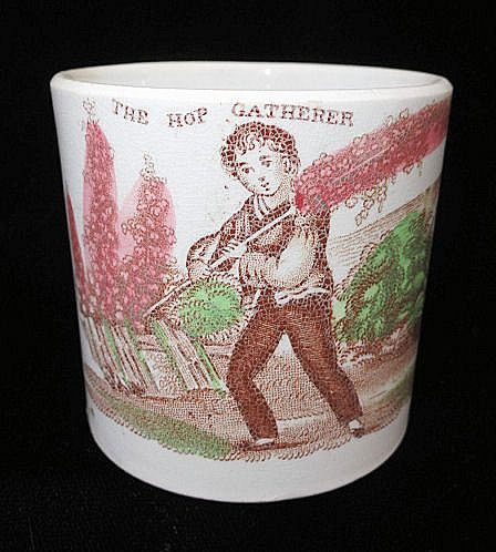 Early Childs Staffordshire Transferware Mug ~ Gathering Hops