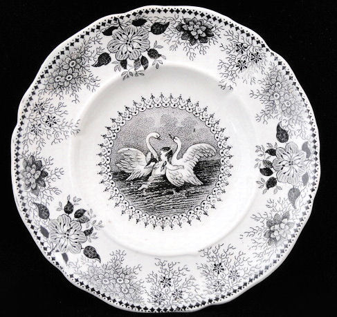 Rare Staffordshire Childs Figural Plate ~ SWANS & CUPID c1840