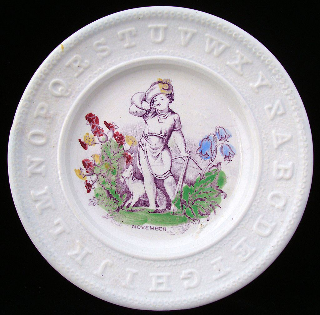 Antique ABC Pearlware Plate ~ November 1840